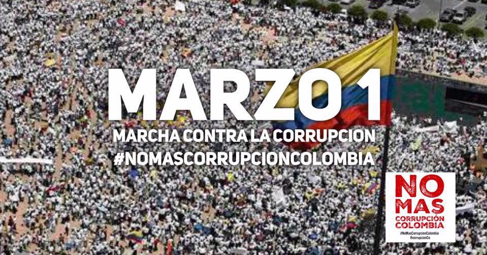 #MarchaContraLaCorrupción #Marzo1 Marcha contra la Corrupción en Colombia